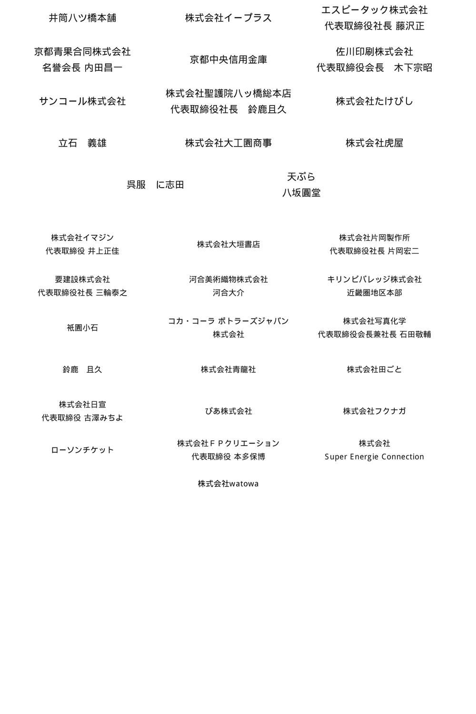 南座発祥四百年記念 特別協賛会員